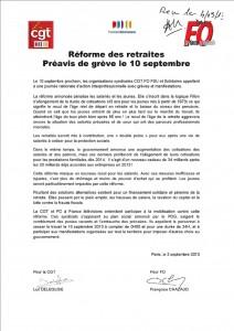Réforme des retraites - Préavis de grève -10 septembre 2013