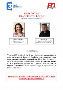 Rencontre Représentants FO - France 3 Toulouse - Vendredi 25 octobre 2013