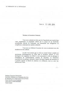 Courrier François Hollande - Réponse présidentielle concernant les DRAC (1)