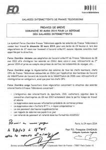 Préavis de grève -_Intermittents -Accord_collectif FTV - Dimanche 30 mars 2014