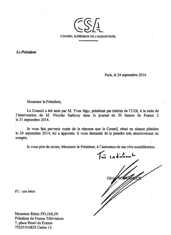 Le Conseil supérieur de l'audiovisuel (CSA) a rejeté, mercredi 24 septembre, la réclamation d'Yves Jégo