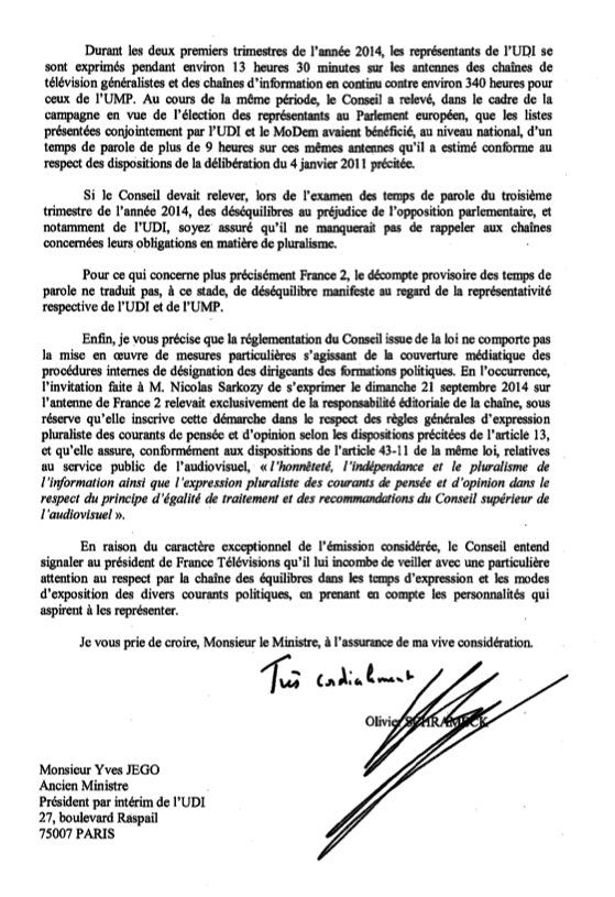 """Le Conseil supérieur de l'audiovisuel (CSA) a rejeté, mercredi 24 septembre, la réclamation d'Yves Jégo, président par intérim de l'UDI. L'ancien ministre exigeait de France 2, pour les candidats de l'UDI qui se présentent actuellement à la présidence de son parti, un """"traitement équivalent"""" à celui de Nicolas Sarkozy, interviewé pendant plus de 40 minutes en prime-time dans le journal de 20 heures."""
