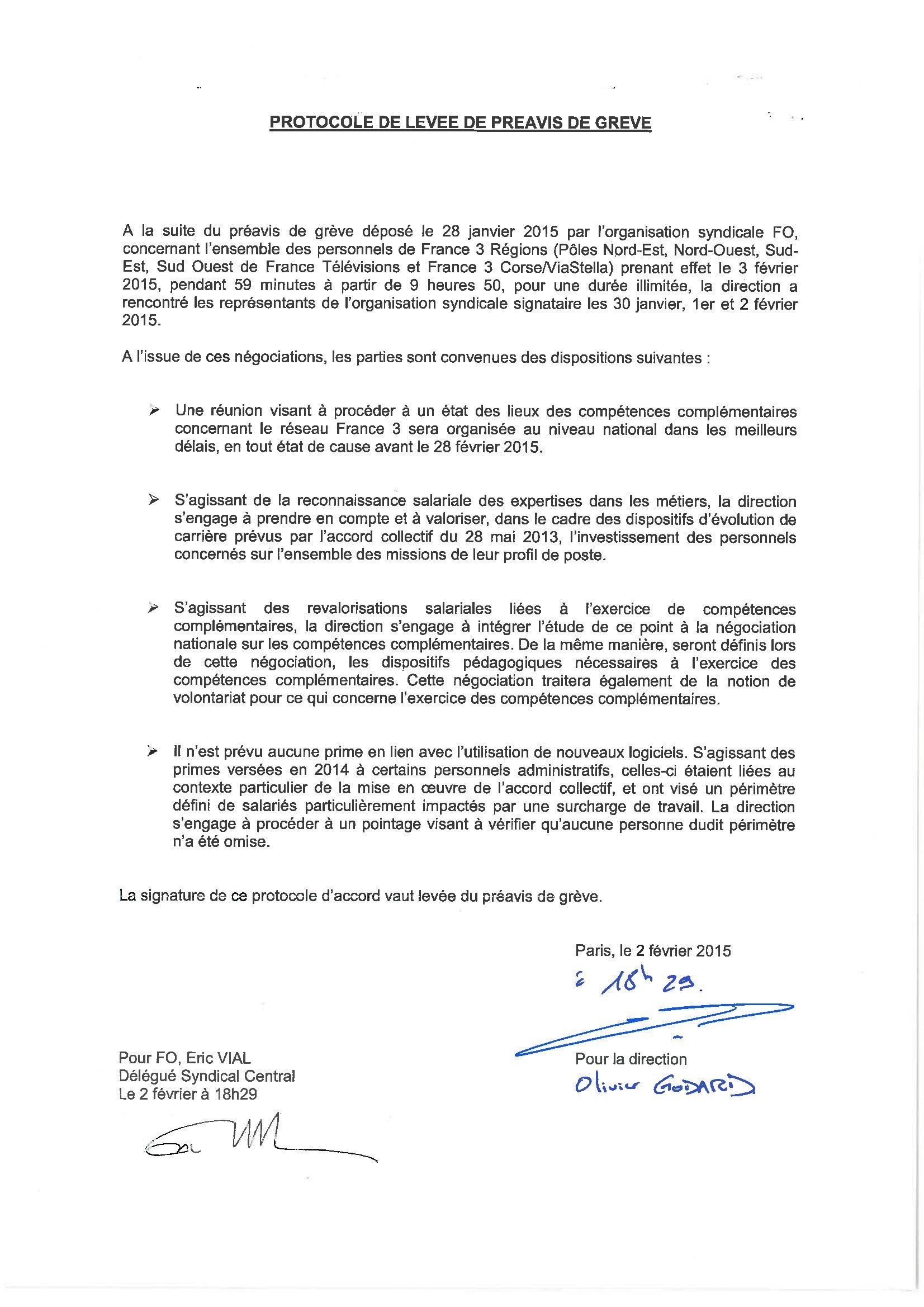 Protocole levée préavis grève FO