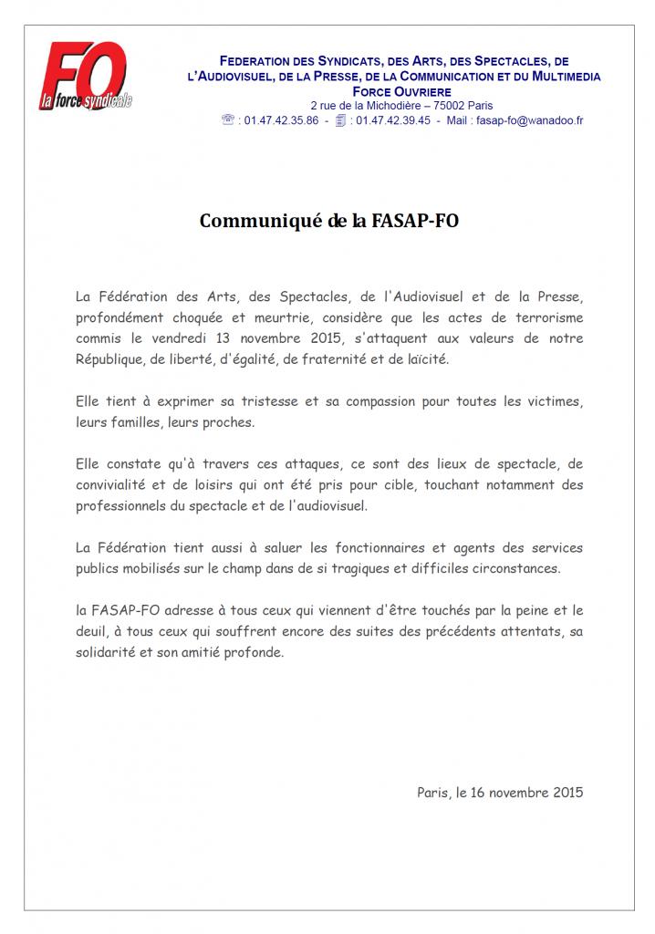 communiqué FASAP 13 novembre 2015