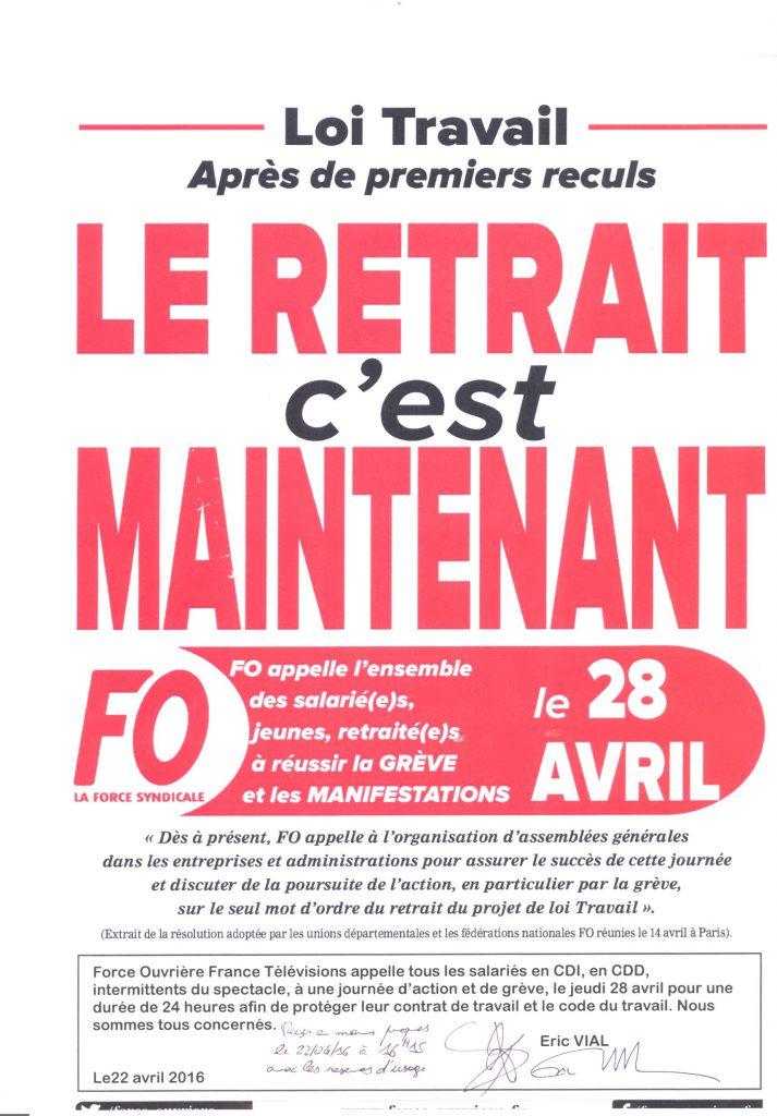 Préavis de grève FO France TV - Loi travail 28.04.2016