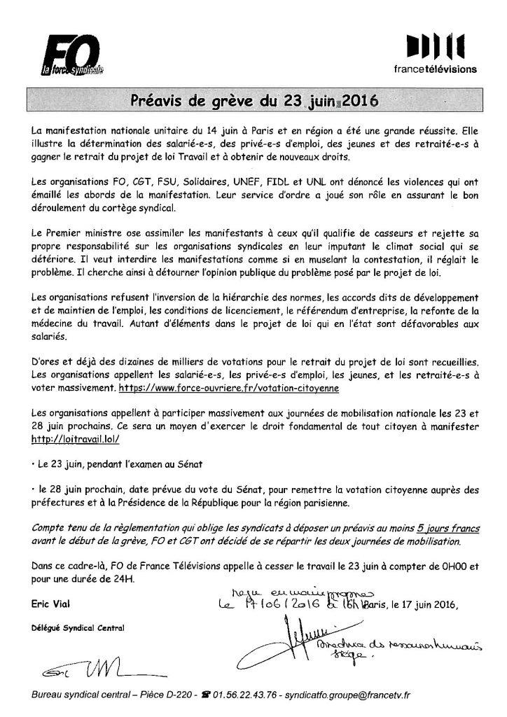 Préavis de grève FO France TV - Loi travail 23.06.2016