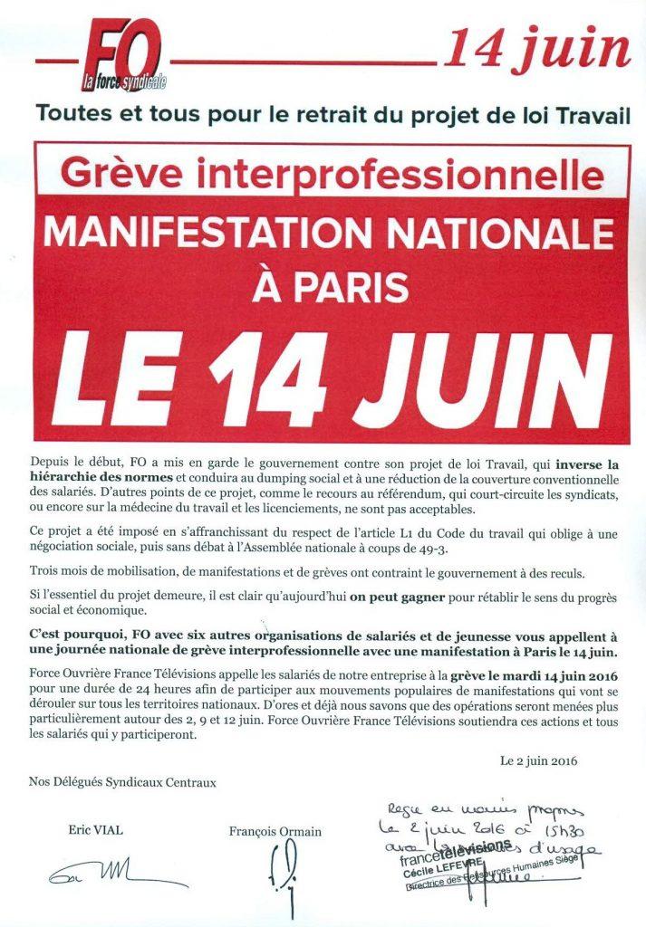 Préavis de grève du mardi 14 juin à France Télévisions