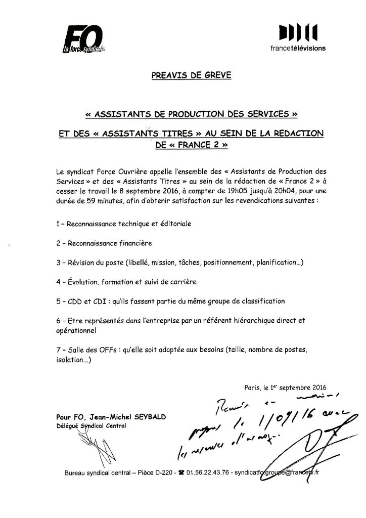 """Préavis de grève """"Assistants de services"""" et des """"Assistants tires"""" au sein de la rédaction de France 2."""
