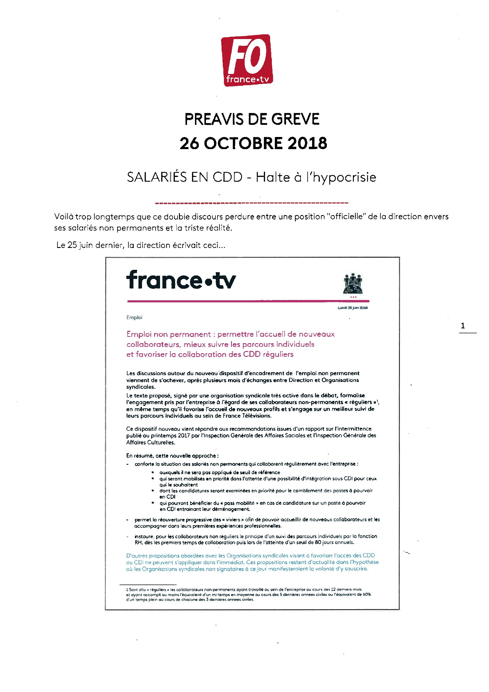Preavis De Greve Fo Salaries En Cdd Pour Le 26 Octobre 2018 000